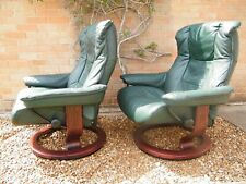 Pair of Green Stressless 'Mayfair' Chairs