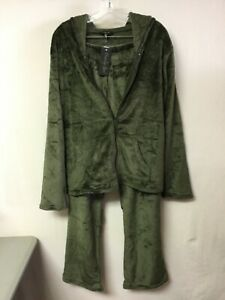 Juniors Peachy Girl 2 Piece Fleece Pajama Lounge Set Plus Size 1X Olive #182U