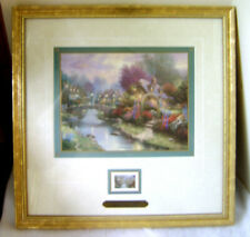 Lamplight Bridge /  Thomas Kinkade Accent Print & Stamp (Matted & Framed) 14x14