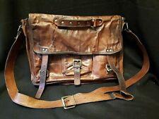 Distressed Leather Unisex Laptop Messenger Bag
