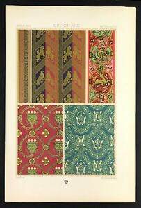 Medieval Art Lithograph Print 1871 by Racinet ornamental motif wall paper design