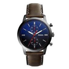 Nib Fossil Townsman Cronógrafo Esfera Azul Marrón Correa Cuero Reloj para Hombre