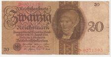 20 Reichsmark Banknote 11.10.1924 Unterdruck Buchstabe E, Serie D. gebraucht