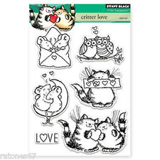 New Penny Black CRITTER LOVE Clear Stamp Heart Mice Cat Owl Smile Love Valentine