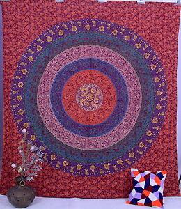 Mandala Indien Tapisserie Tenture Coton Couvre-Lit Reine Jeté Maison Décor Art