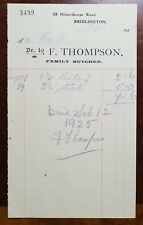 1925 F. Thompson, Family Butcher, 28 Hilderthorpe Road, Bridlington Invoice