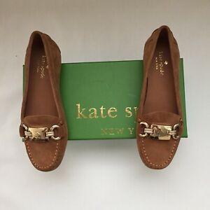 Kate Spade New York Women's Carson Tobacco Logo Gold Buckle Flat Size 5.5M