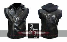 TNA AJ Styles WWE Crocodile Faux Leather Vest with Hoodie High Quality