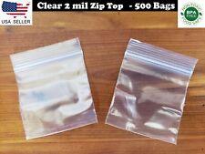 "500 CLEAR PLASTIC BAGS 2"" x 2"" - 2 MIL 2020 RECLOSABLE TOP ZIP LOCK MINI BAGGIE"