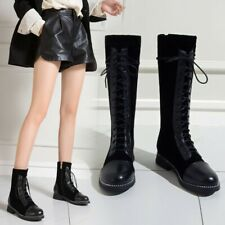 Womens Low Heels Mixed Round Toe Mid Calf Riding Boots Lace Up Zip Side Shoes