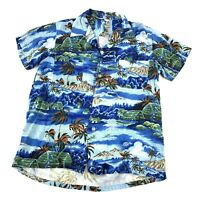 Vintage Button Loop 50s Penney's Rayon Hawaiian Tropical Shirt Medium Made Japan