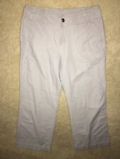 Garnet Hill Womens Gray Pants Linen Cotton Size 12 12P Roll Up Capri Petite