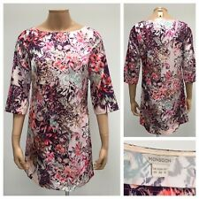 Monsoon Tunic Dress Size UK 10 Multicoloured Floral Pattern Silk Look Sequins