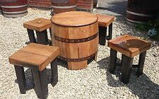 Recycled Solid Oak Whiskey Cask Coffee Table and Set of Four Stools