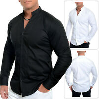 Men's Mandarin Collar Shirt Long Sleeve V-Neck Casual Formal Holiday Coton Slim