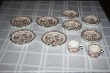Child's 10 pc Staffordshire Brown Tea Set England Stag RARE Vintage Pieces