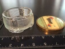 Vintage Vanity Art Deco Powder Jar Ribbed Glass Trinket Jewelry Box, Free Ship!