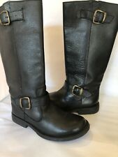 STEVE MADDEN boots 6 Black Leather Riding Frencchh tall high pebbled buckle