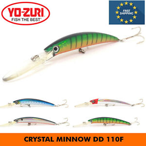 YO-ZURI CRYSTAL MINNOW DD 110F FLOATING DEEP DIVER FISHING HARD BAIT LURE 110 MM