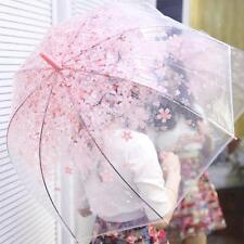 JP Cherry Blossom Transparent Umbrella Beautiful Clear Dome Bubble Umbrella pink