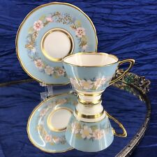 Royal Stafford Garland Tea Cup and Saucer Blue Gold Vintage England Teacup