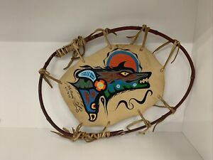 Noah Sainnawap Original Woodlands Art! Wolf And Eagle On Leather Dreamcatcher