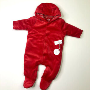 Baby Gap Velour Bear Ears One piece Red Winter Bunting Snow 3-6 Months NEW