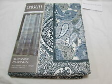 New Croscill Fabric Shower Curtain 70x72 PAISLEY COLLAGE - Blue, Black & Ivory