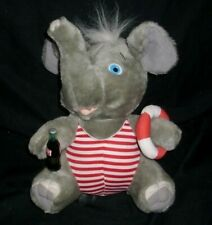 "10"" VINTAGE 1993 COKE A COLA GREY ELEPHANT W/ BOTTLE STUFFED ANIMAL PLUSH TOY"