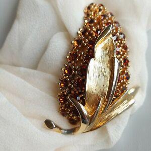 Vintage SPHINX Rhinestone Sparkly Gold Tone Brooch