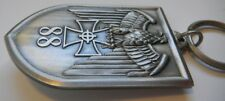 German Eagle KEYCHAIN with Iron & Celtic Cross, Silver Plate on Brass, New