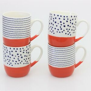 Set of 4 Porcelain 450ml Orange Coffee Mugs Tea Cups Tangerine Speckled Stripes