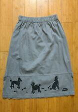 Women's Grey poodle artworks special edition skirt Made in USA 100% Cotton Sz S