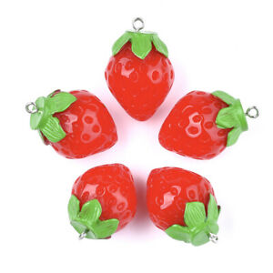10pcs Red Resin Strawberry Pendants Cute Fruit Dangle Charms Crafting 29~32x21mm