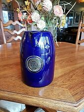 Vintage1800's Yale University PITCHER Cobalt Blue w/Copper/Bronze Medallion Seal