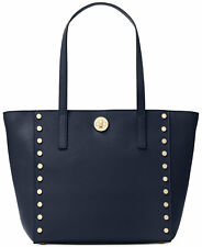 NWT MICHAEL KORS RIVINGTON Studded Medium Tote Bag In ADMIRAL BLUE Leather $278