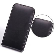 Pdair Hand Made Soft Leather Vertical Pouch Case Cover for HTC One Mini - Black