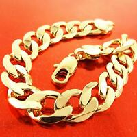 Mens Bracelet Bangle Real 18k Yellow G/F Gold Solid Curb Cuban Link Design 23cm