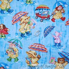 BonEful Fabric Cotton Quilt Blue Corduroy Bear Pink Bunny Dog Rag Doll Baby Rain