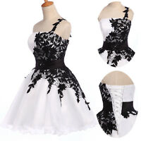 NEW CHEAP BLACK/WHITE Short Evening Formal Gown  Party Bridesmaid Cocktail Dress