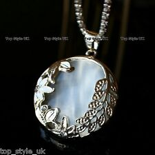Beautiful White Moonstone Necklace Pendant with Flower Pattern Gift Present Opal