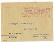Netherlands 1945 Red Meter Cover Rotterdam to Bridgeport Connecticut USA Scarce