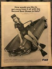 Fiat 1500 Spider ~ Second Best Shape In Italy ~ 1966 Vintage Print AD B40