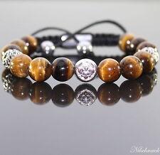 Herren Tiger Auge Shamballa Armband  Armreifen mit Antik Beads für Männer