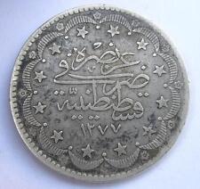 RARE OTTOMAN EMPIRE/TURKEY ISLAMIC 1277/13 SILVER 20 KURUSH COIN ABDUL AZIZ-1861