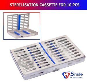 Sterilization Cassette Rack Tray Holds 10 Dental Surgical Instruments Autoclave