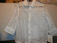 Mirasol Semi Sheer BURNOUT Button down Blouse WHITE NWT