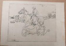 Belle Gravure Ancienne Cavalier Cheval BRISSAUD Épreuve d'Essai