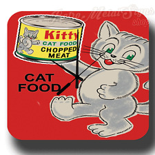 KITTY CAT FOOD  VINTAGE RETRO METAL TIN SIGN WALL CLOCK