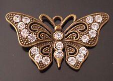 1 gran bronce antiguo y Transparente Pedrería mariposa encanto colgante TSC55Z